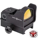 Sightmark Mini - панорамный на Weaver/Picatinny, защитн. экран + выский крон., марка - точка 5MOA, красн. 5 ур. яркости