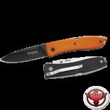 Нож LionSteel серии Big Opera G10 лезвие 90 мм черное, рукоять - G10 оранжевая, крепление на ремень