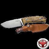 Нож LionSteel серии Hunting лезвие 90 мм фиксированное, рукоять - оливковое дерево, кожаный чехол