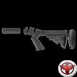 Регулируемый приклад 6 позиций, пистолетная рукоять, с цевьем и системой отдачи скорпион.
